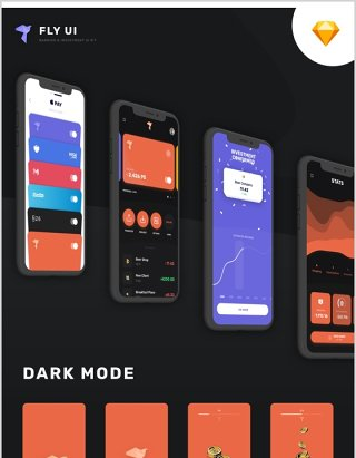 深浅主题金融应用设计的银行投资移动用户界面工具包 飞-UI套件Fly - Banking Investment Mobile UI Kit