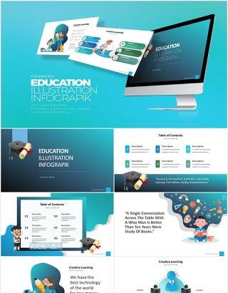 创意卡通学校教育教学信息图表PPT素材元素Education Infograpik PowerPoint Presentation