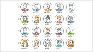 男女用户头像客服办公图标PPT素材元素Characters