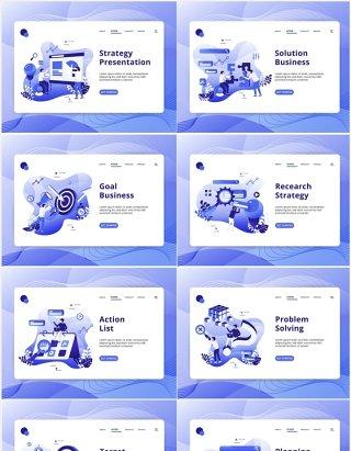 商业策略市场项目目标业务清单解决方案人物插画AI矢量素材