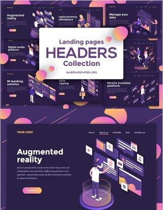 深色主题2.5D等距登录页插画模板Landing page templates, dark theme