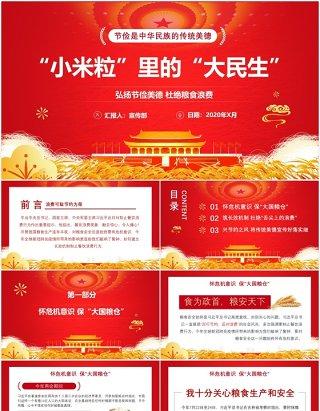 红色党政党建节俭光盘行动小米粒里的大民生党课PPT模板