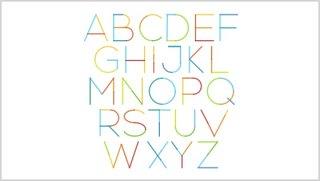 26个英文字母彩色线性拼接字母表PPT元素素材图标Alphabet