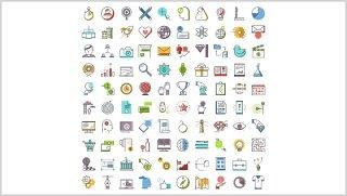 彩色创意办公小图标PPT素材元素Little Icons