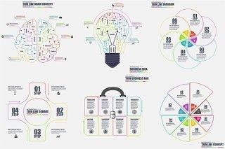 创意图形灯泡大脑圆形循环线性彩色AI矢量素材信息图表