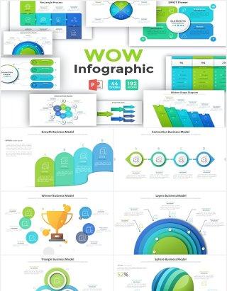 循环周期项目阶段信息图表PPT元素含PSD素材Wow Infographic For Powerpoint