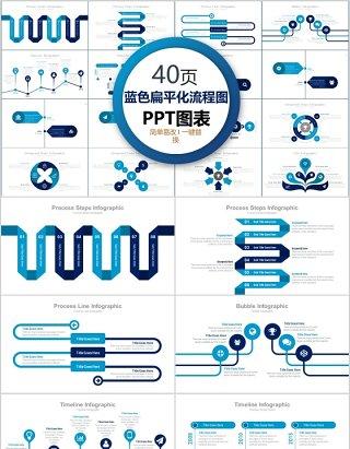 40页蓝色扁平化流程图ppt图表