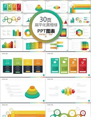 30页扁平化黄橙绿ppt图表