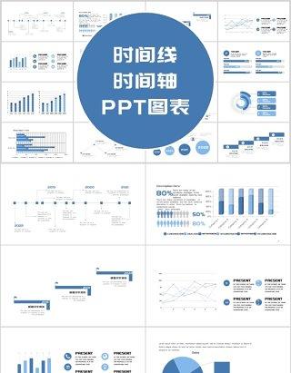 蓝色简约时间线时间轴PPT图表