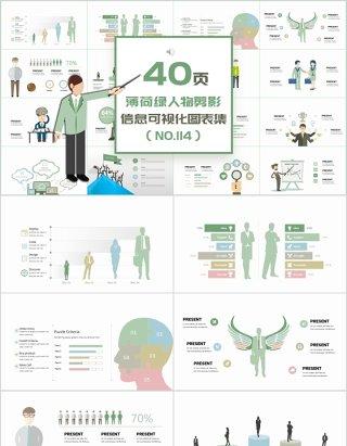 40页薄荷绿人物剪影信息可视化图表集精选