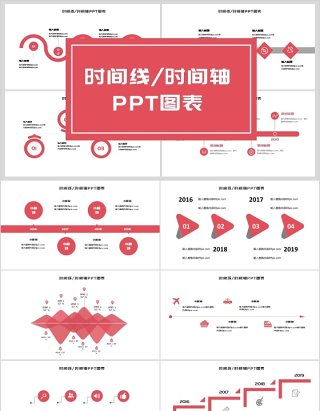 简约时间线时间轴PPT图表