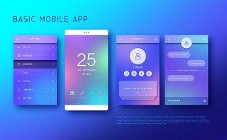 UI设计扁平手机APP交互界面PS模板PSD分层源文件素材