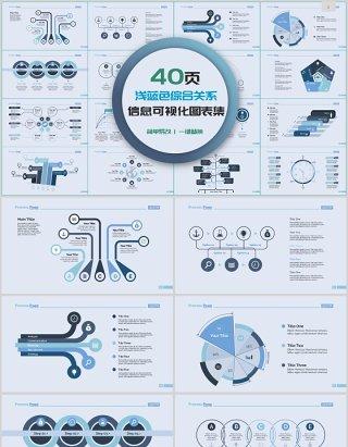 40页浅蓝色综合关系信息可视化图表合集