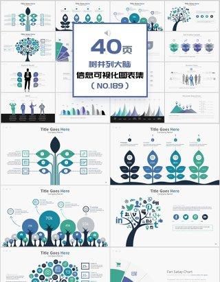 40页树并列大脑信息可视化图表集