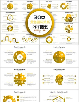 30页黄色循环关系ppt图表