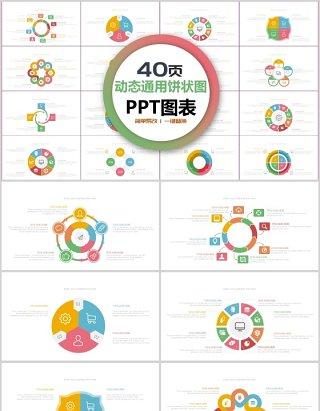 多彩动态商务通用饼状图PPT图表合集