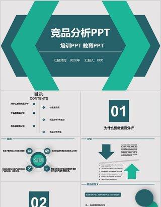 绿色竞品分析报告教育培训PPT模板