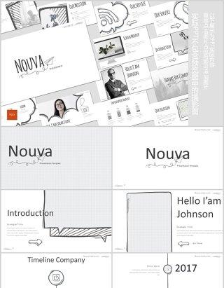 手绘互联网信息图形PPT模板版式设计Nouva Powerpoint Template