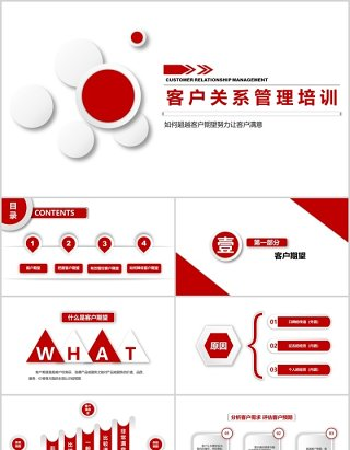 红色微粒体商务客户关系管理培训PPT模板