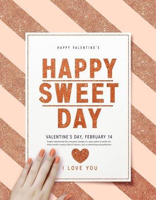 情人节心心love巧克力鲜花丝带粉色背景海报PSD设计素材 (15)