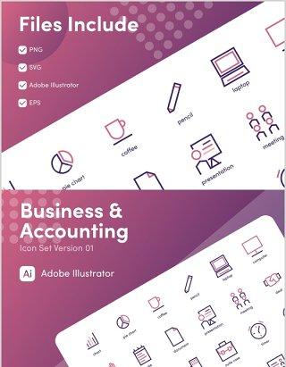 商业与会计元素图标素材Business and Accounting