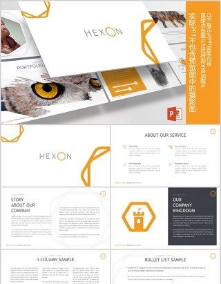 商务图文排版时间轴PPT信息图表元素素材模板Hexon Powerpoint Template