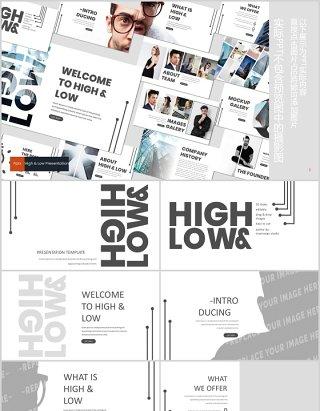 高端简约公司简介项目产品介绍PPT模板版式设计High&Low Powerpoint Template