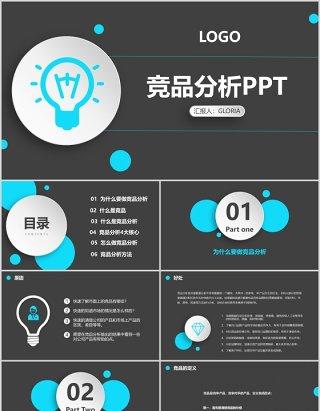 商务黑色竞品分析报告PPT模板