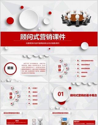 微粒体红色顾问式营销培训销售课件PPT模板