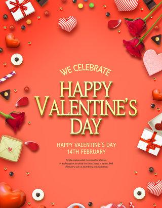 情人节心心love巧克力鲜花丝带粉色背景海报PSD设计素材 (6)