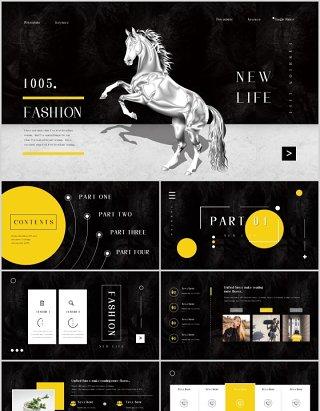 黑色时尚商务汇报企业宣传介绍PPT国外模板