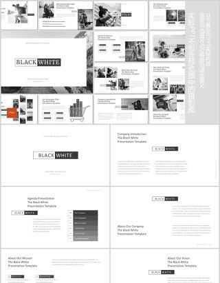 黑白简洁公司简介产品介绍工作汇报PPT模板版式设计图文排版Black and White Powerpoint Template
