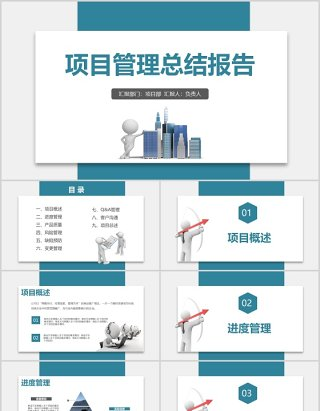 商务公司项目管理总结报告PPT模板