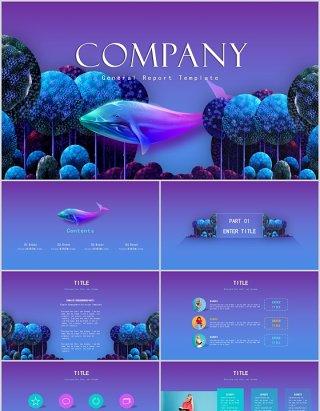 紫色渐变国外创意公司项目宣传介绍PPT模板
