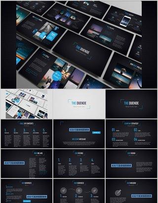 多功能深浅两套PPT演示模板手机电脑模型Duende dark Light Powerpoint template