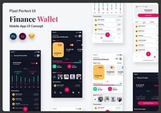 金融钱包移动应用程序用户界面工具包Finance Wallet Mobile App UI Kit